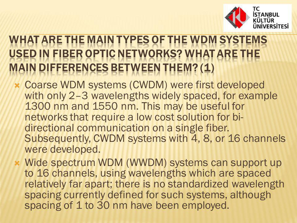 What are the main types of the WDM systems used in fiber optic networks What are the main differences between them (1)