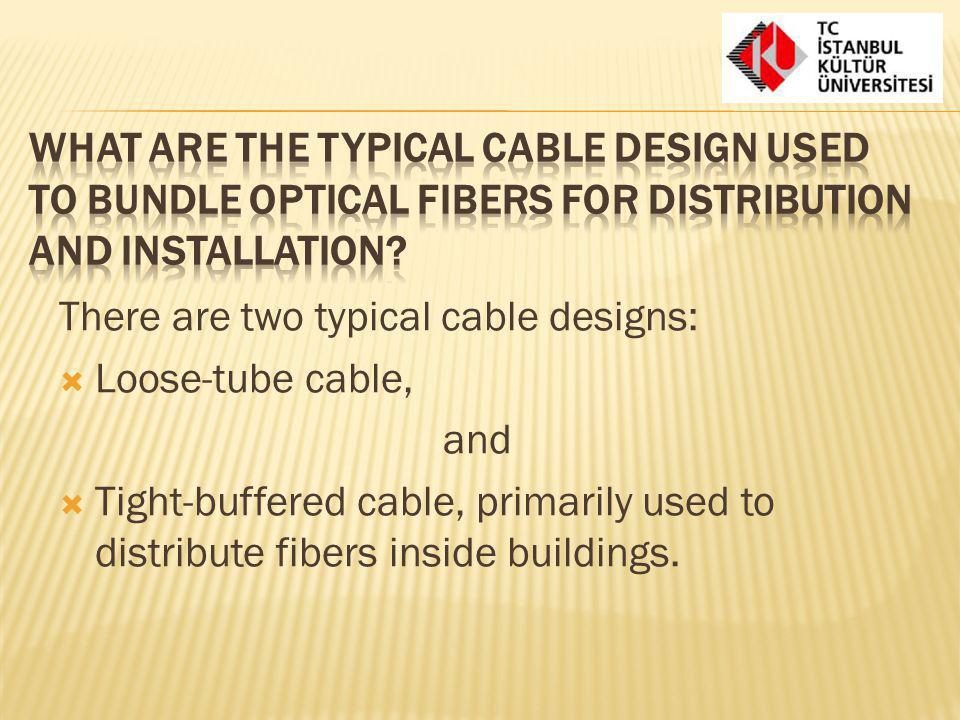 What are the typical cable design used to bundle optical fibers for distribution and installation