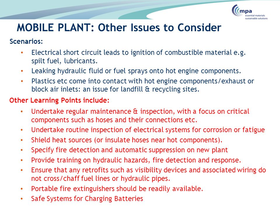 MOBILE PLANT: Other Issues to Consider