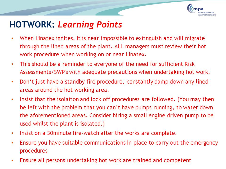 HOTWORK: Learning Points
