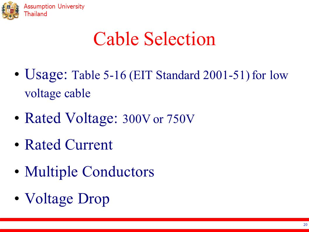 Cable Selection Usage: Table 5-16 (EIT Standard 2001-51) for low voltage cable. Rated Voltage: 300V or 750V.