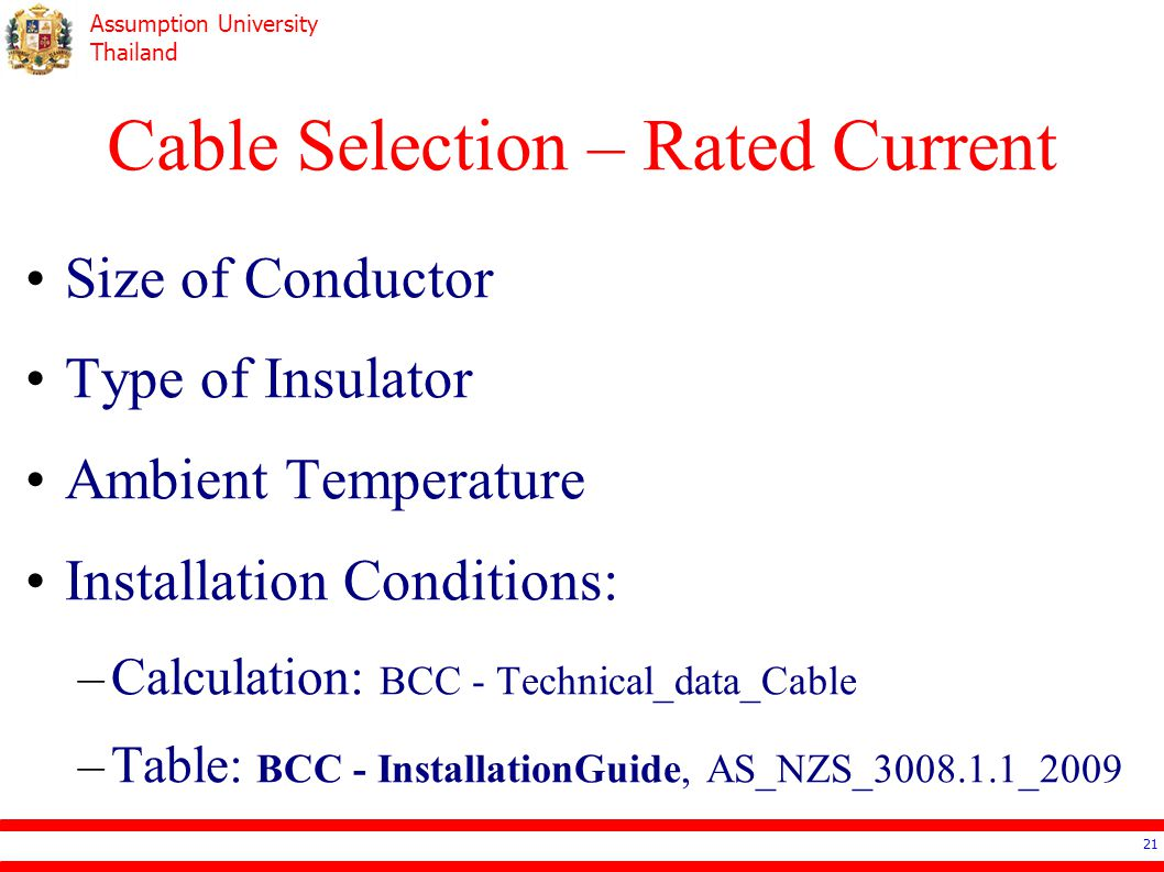 Cable Selection – Rated Current