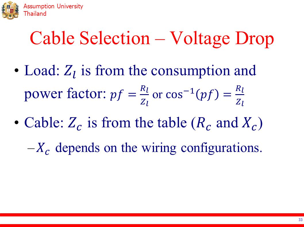 Cable Selection – Voltage Drop