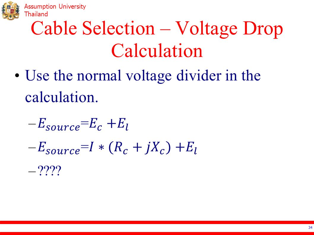 Cable Selection – Voltage Drop Calculation