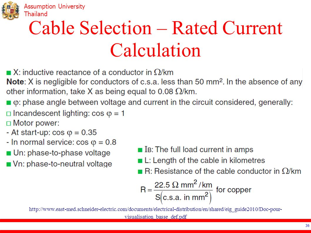Cable Selection – Rated Current Calculation