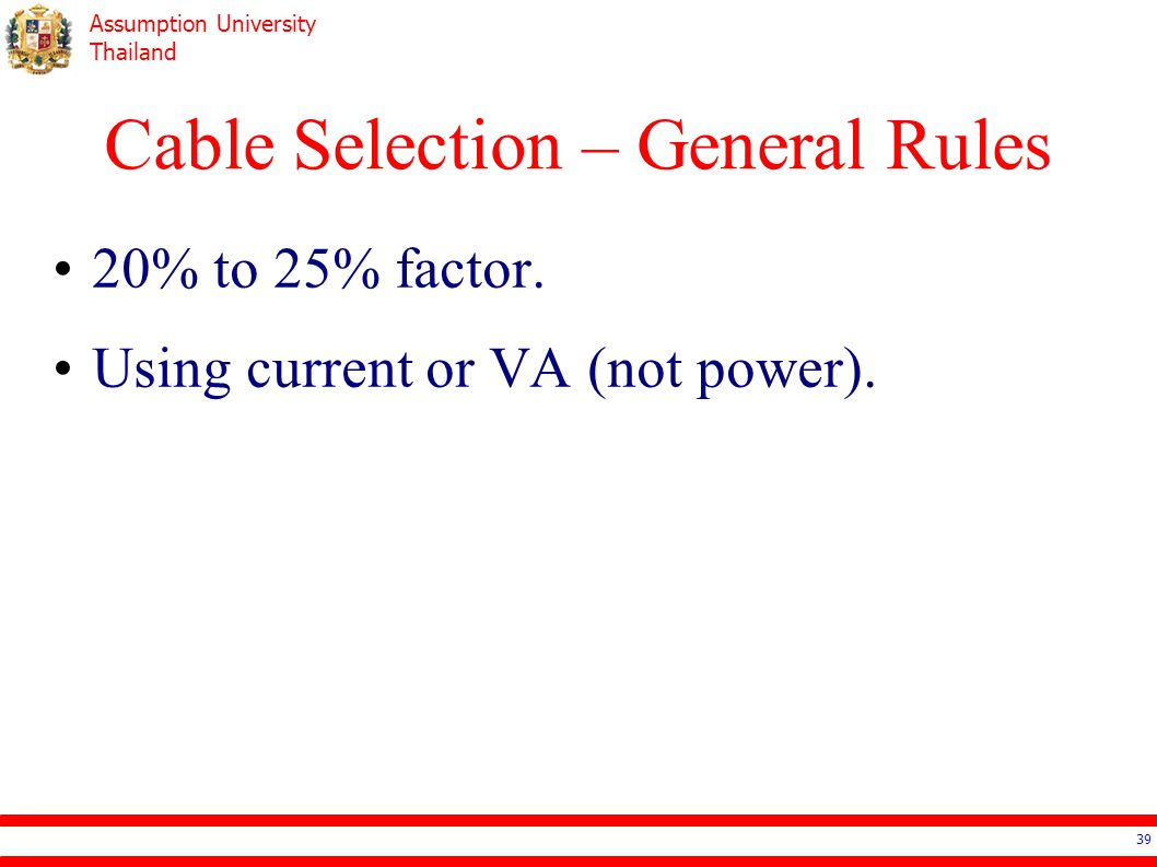 Cable Selection – General Rules