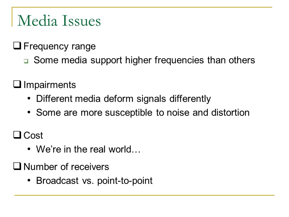 Media Issues Frequency range