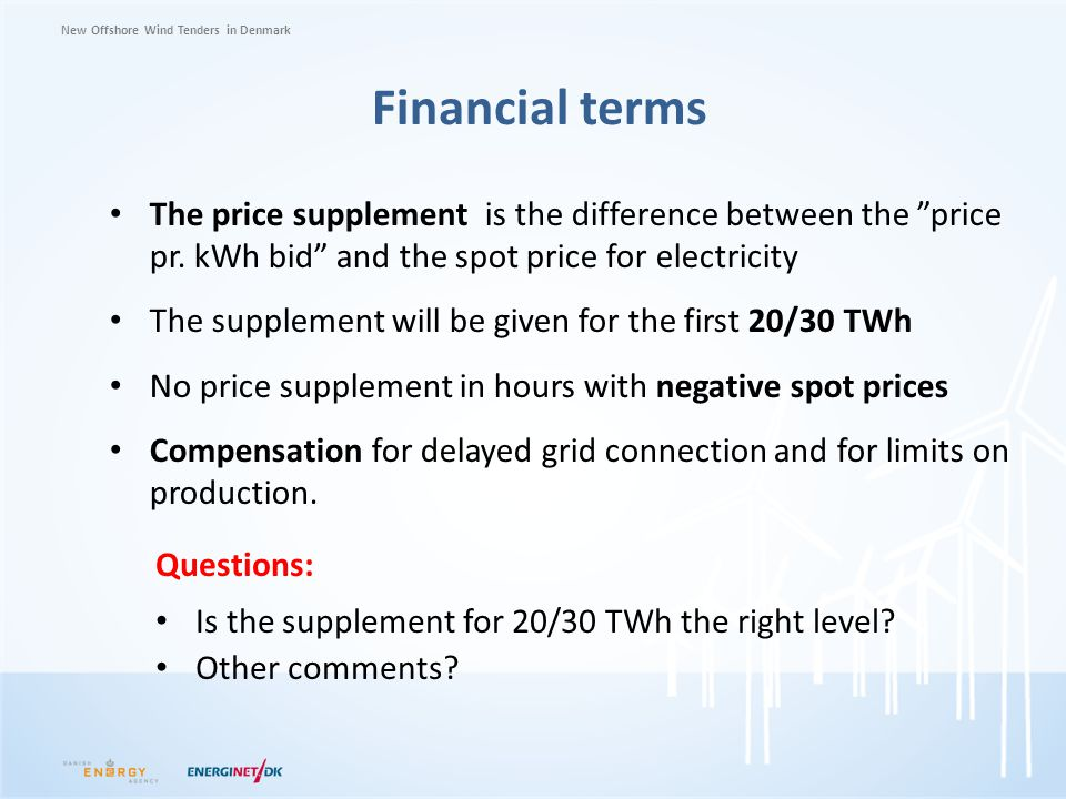 Financial terms The price supplement is the difference between the price pr. kWh bid and the spot price for electricity.