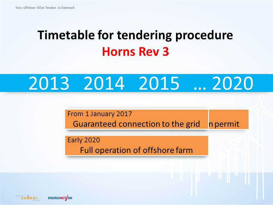 Timetable for tendering procedure Horns Rev 3