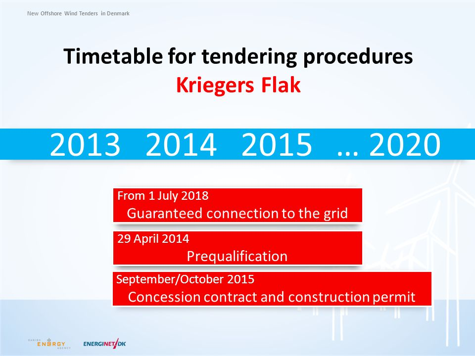 Timetable for tendering procedures Kriegers Flak
