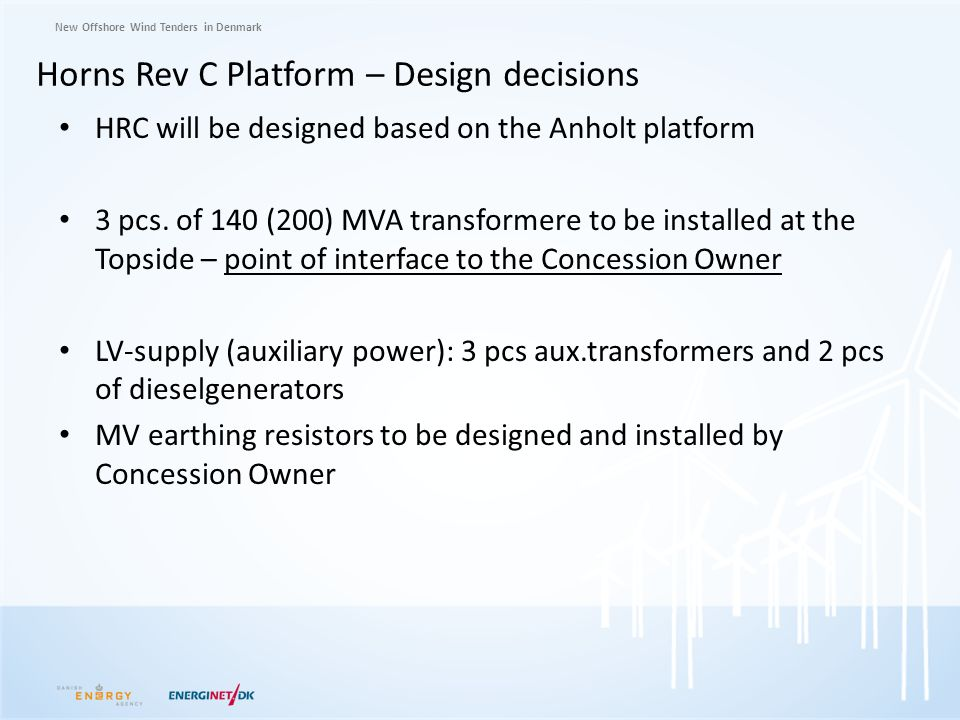 Horns Rev C Platform – Design decisions