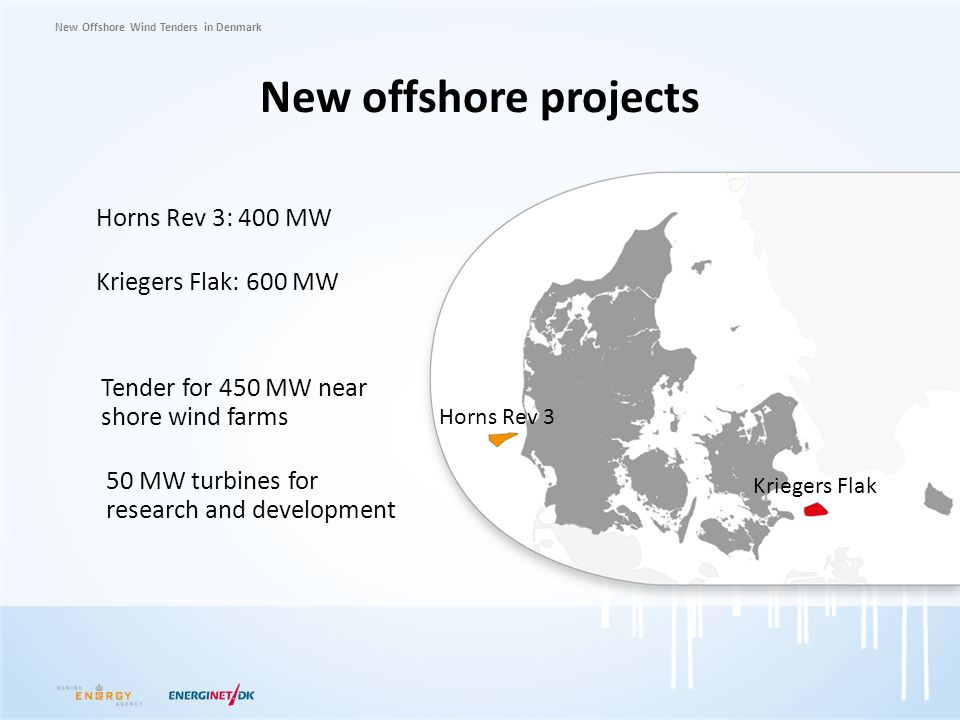New offshore projects Horns Rev 3: 400 MW Kriegers Flak: 600 MW