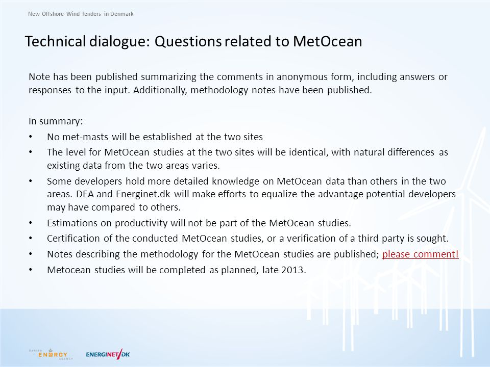 Technical dialogue: Questions related to MetOcean
