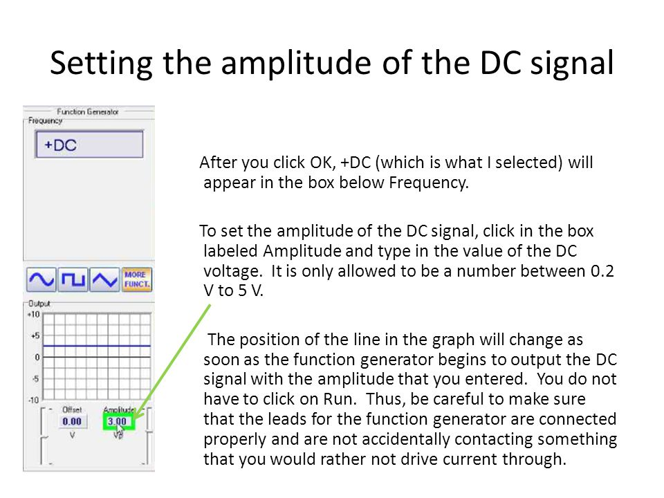 Setting the amplitude of the DC signal