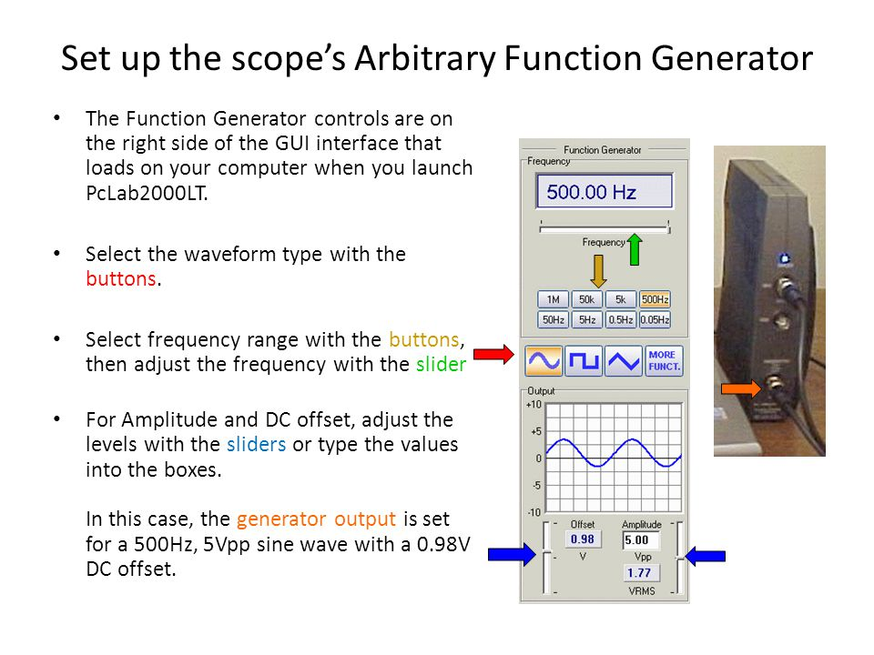 Set up the scope's Arbitrary Function Generator