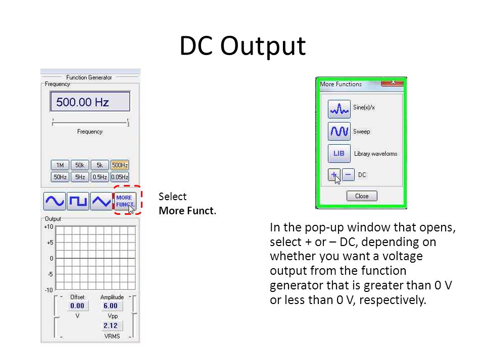 DC Output Select More Funct.
