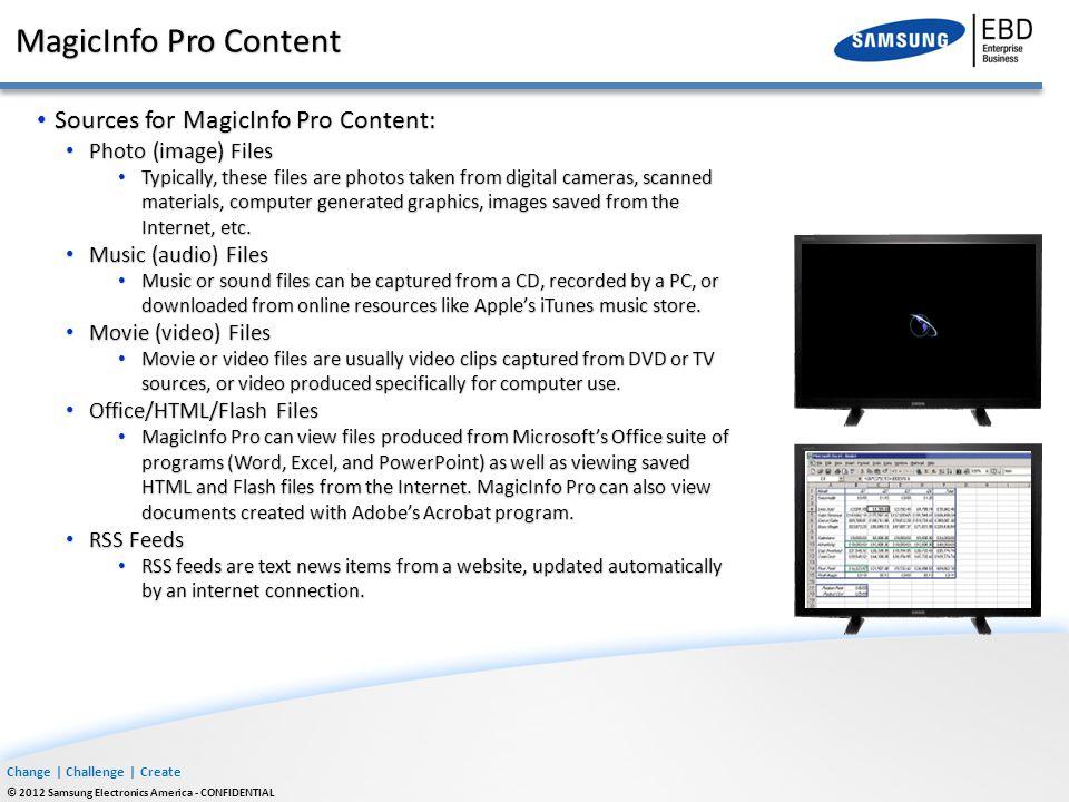 MagicInfo Pro Content Sources for MagicInfo Pro Content: