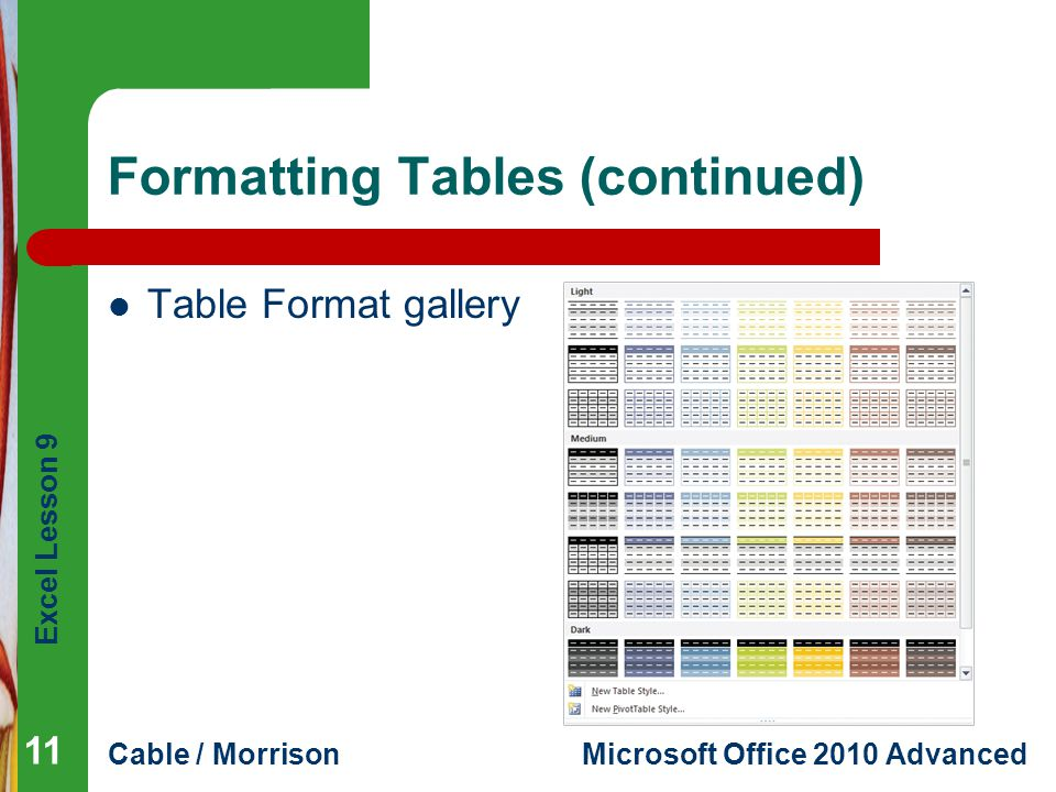 Formatting Tables (continued)
