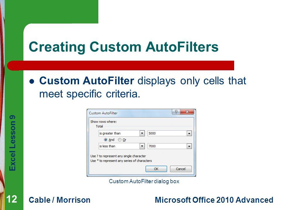 Creating Custom AutoFilters