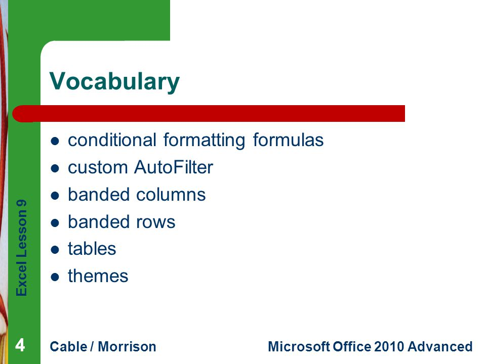 Vocabulary conditional formatting formulas custom AutoFilter