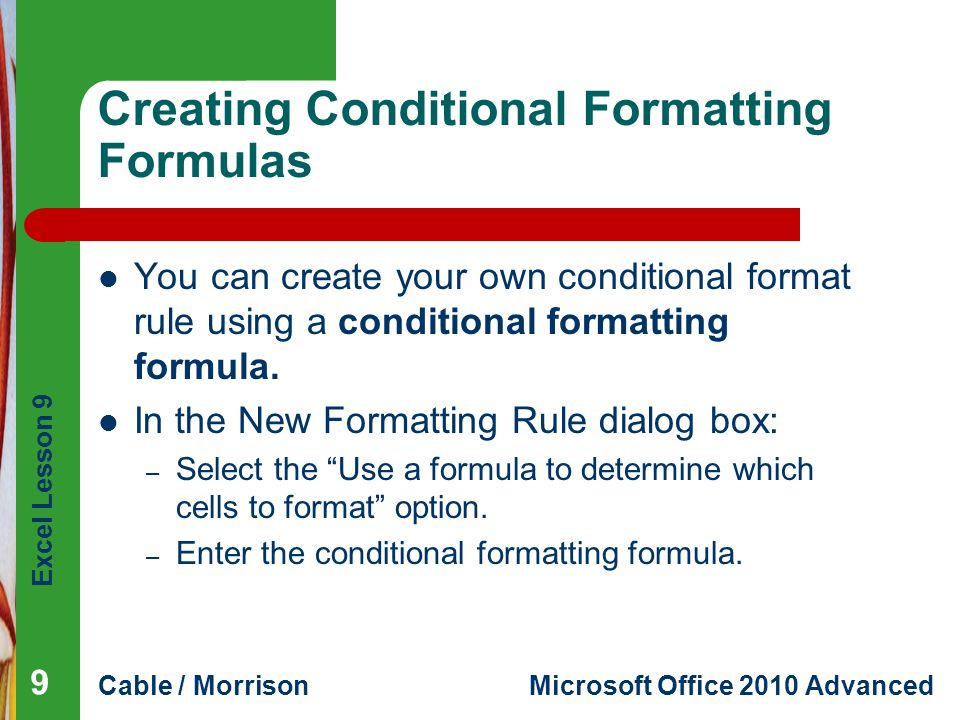 Creating Conditional Formatting Formulas