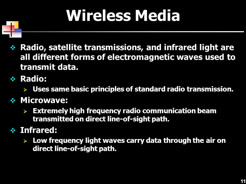 Wireless Media Radio, satellite transmissions, and infrared light are all different forms of electromagnetic waves used to transmit data.