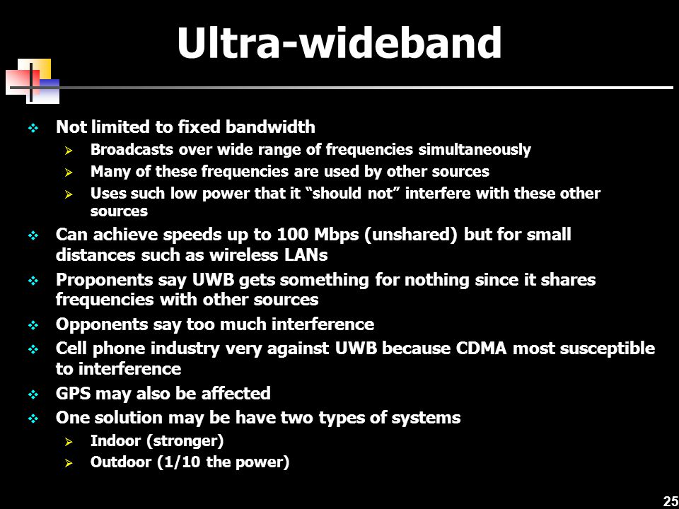 Ultra-wideband Not limited to fixed bandwidth