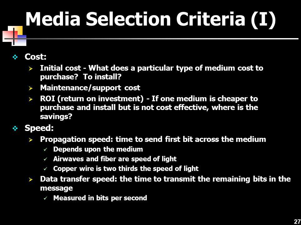 Media Selection Criteria (I)