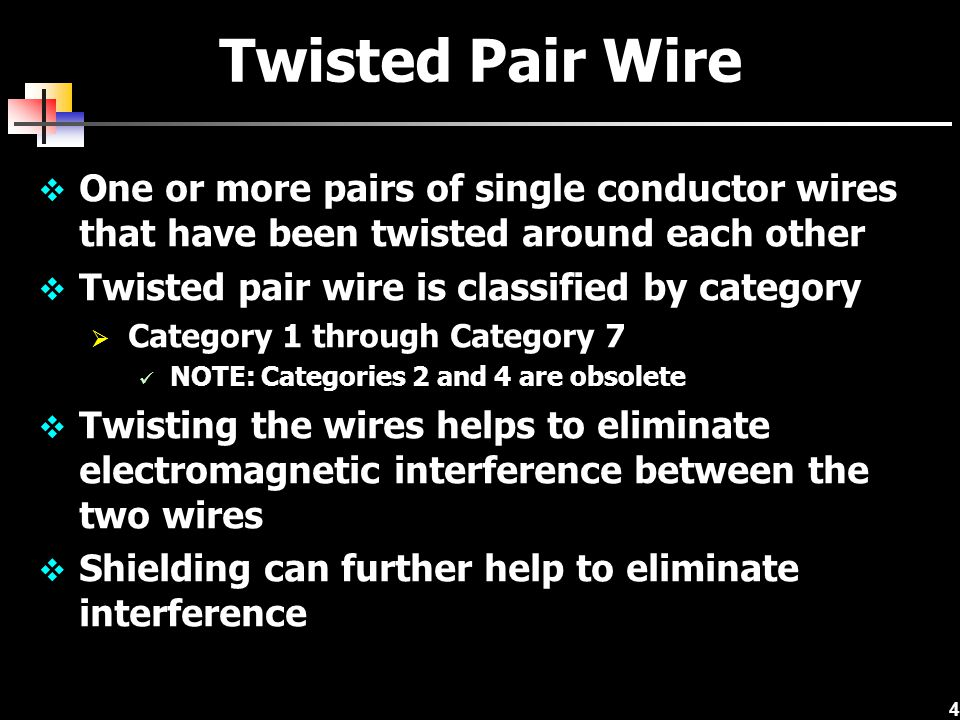 Twisted Pair Wire One or more pairs of single conductor wires that have been twisted around each other.
