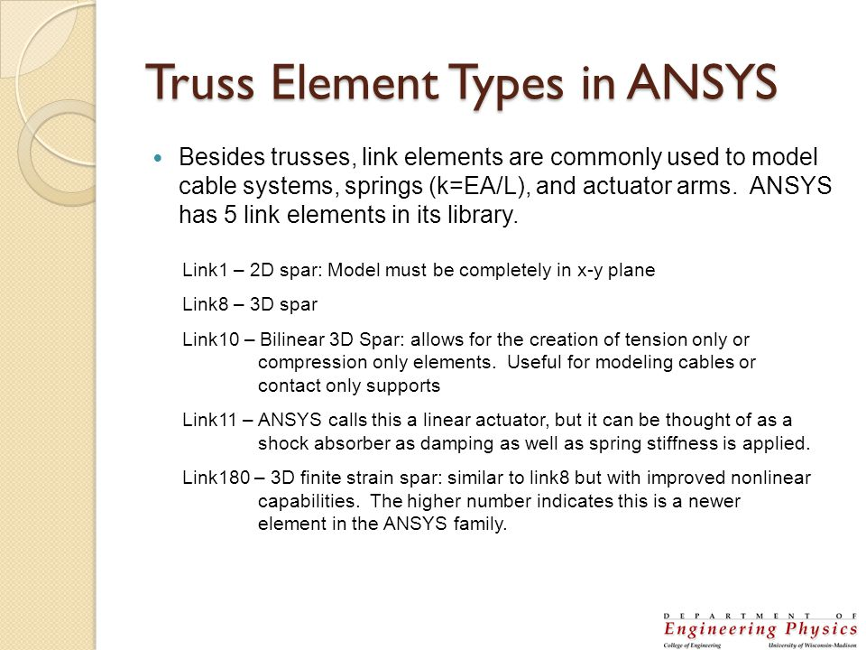 Truss Element Types in ANSYS