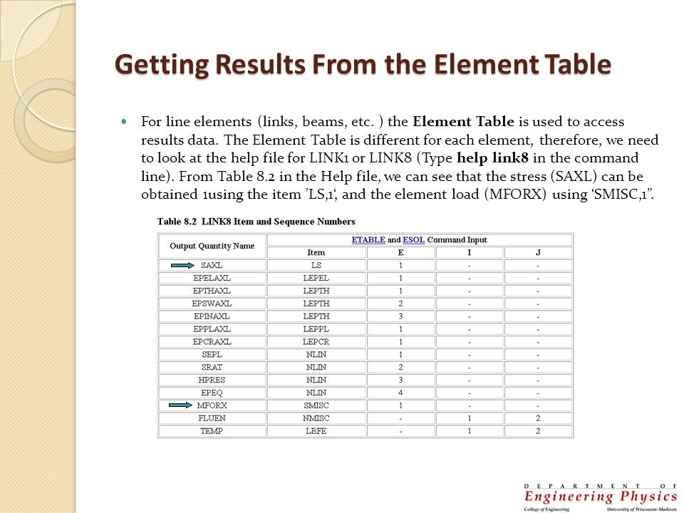 Getting Results From the Element Table
