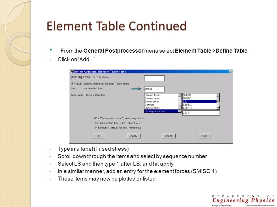 Element Table Continued