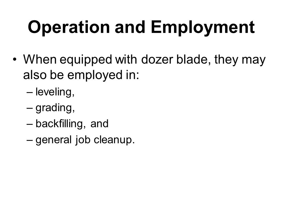 Operation and Employment