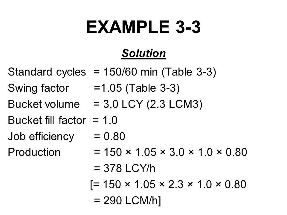EXAMPLE 3-3 Solution Standard cycles = 150/60 min (Table 3-3)