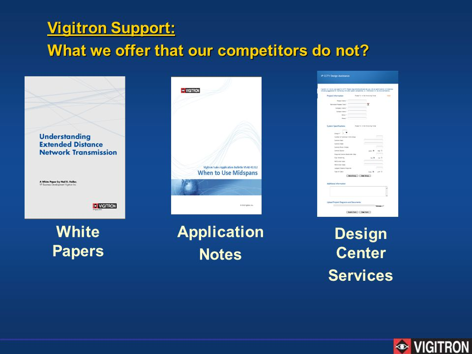 Vigitron Support: What we offer that our competitors do not White Papers. Application. Notes. Design Center.