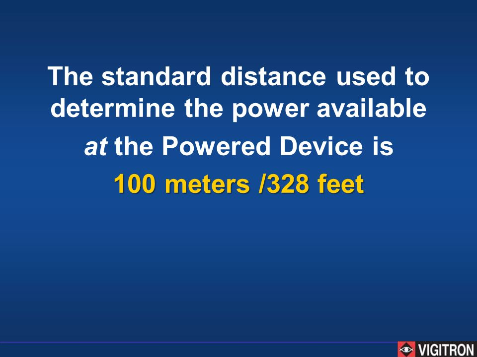 The standard distance used to determine the power available