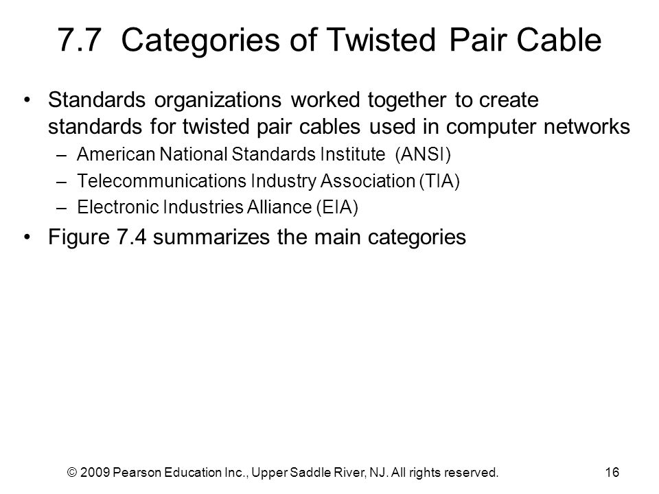 7.7 Categories of Twisted Pair Cable