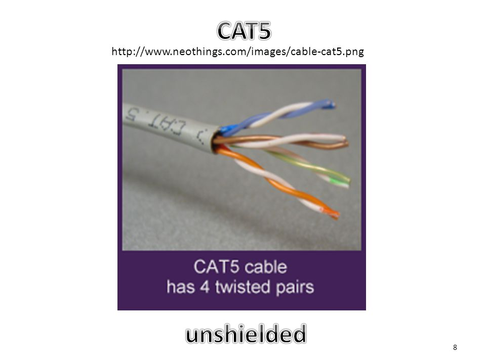 CAT5 http://www.neothings.com/images/cable-cat5.png unshielded