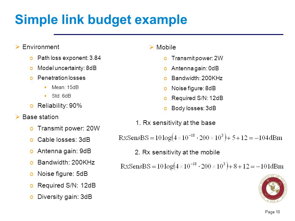 Simple link budget example