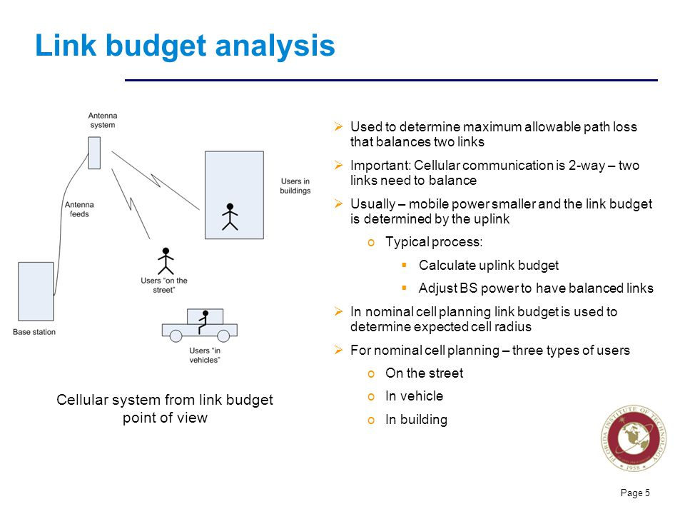 Cellular system from link budget point of view