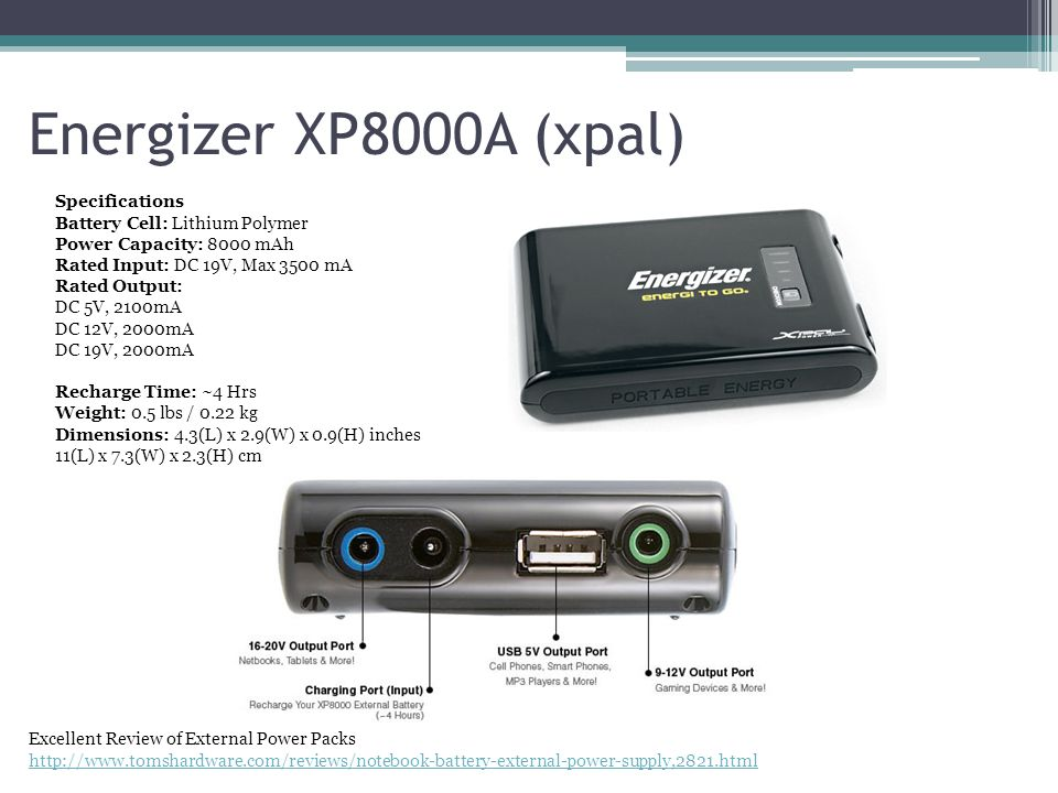 Energizer XP8000A (xpal) Specifications Battery Cell: Lithium Polymer