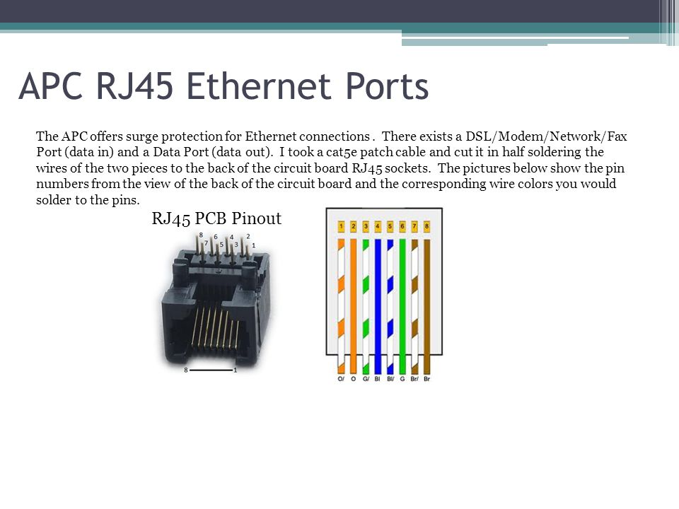 APC RJ45 Ethernet Ports RJ45 PCB Pinout
