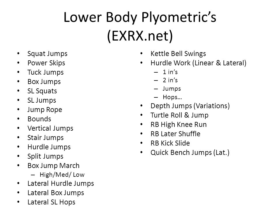Lower Body Plyometric's (EXRX.net)