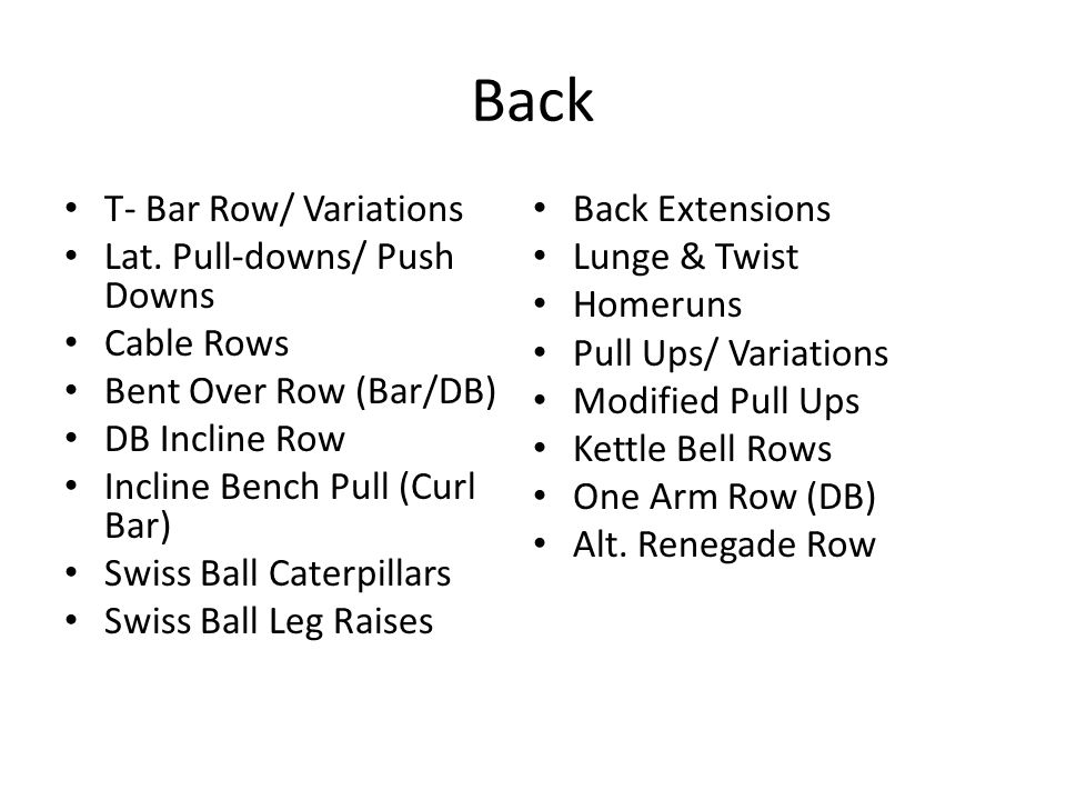 Back T- Bar Row/ Variations Back Extensions