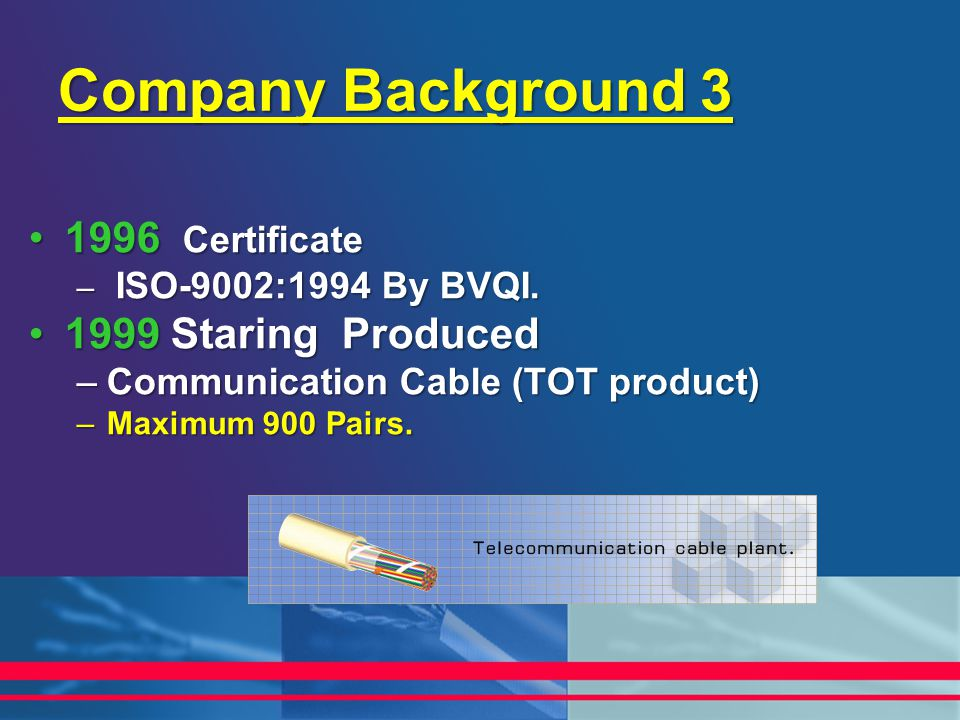 Company Background 3 1996 Certificate 1999 Staring Produced