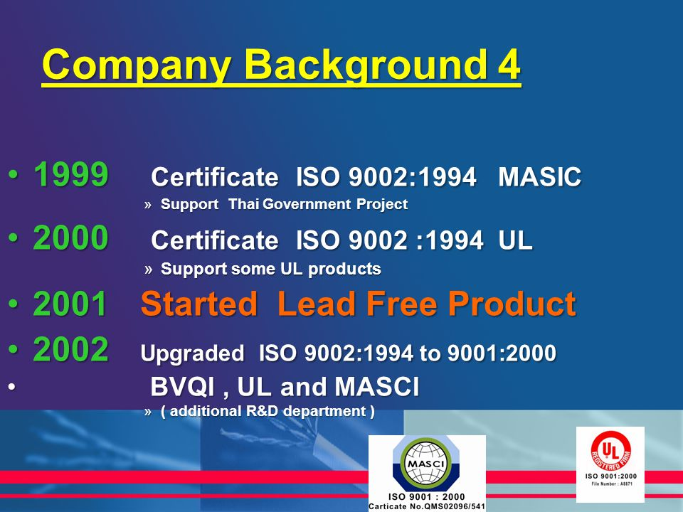 Company Background 4 1999 Certificate ISO 9002:1994 MASIC