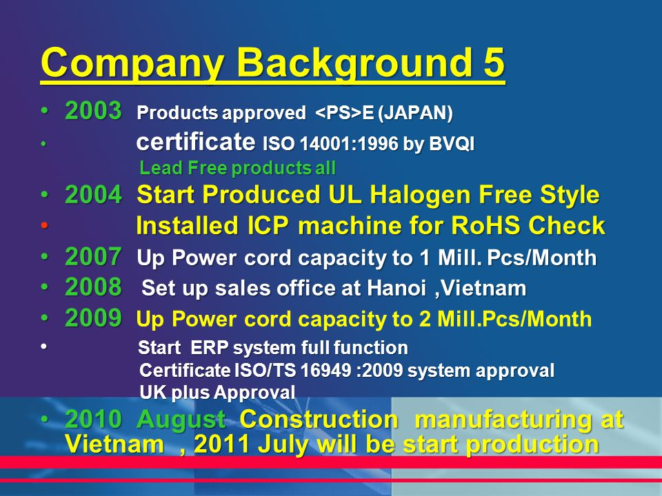 Company Background 5 2003 Products approved <PS>E (JAPAN)