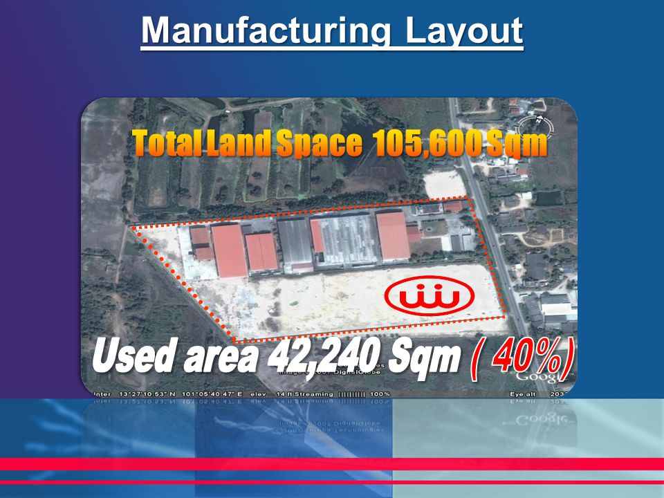 Manufacturing Layout Total Land Space 105,600 Sqm