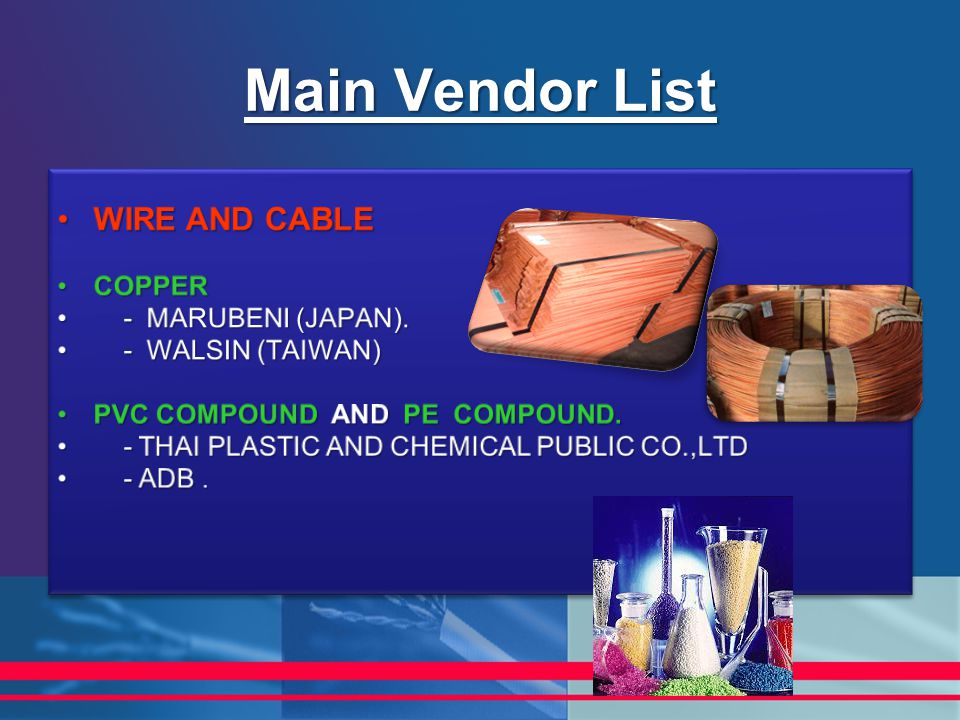 Main Vendor List WIRE AND CABLE COPPER - MARUBENI (JAPAN).