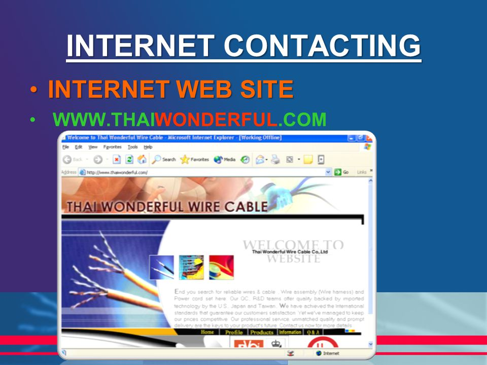 INTERNET CONTACTING INTERNET WEB SITE WWW.THAIWONDERFUL.COM